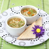 Chicken soup. Some chicken soup with noodles stock photography