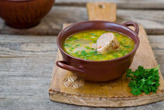 Chicken soup with the stuffed chicken neck Stock Photo