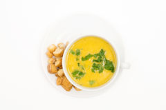 Chicken soup. Top view. Selective Focus White background royalty free stock photo