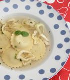 Chicken soup with tortellini. Some chicken soup with tortellini and fennel Stock Photo