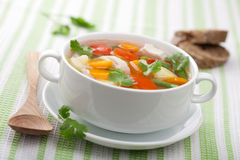 Chicken soup with vegetables Royalty Free Stock Photos