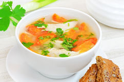 Chicken soup with vegetables royalty free stock image