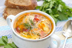 Chicken soup with vegetables Stock Images