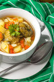 Chicken soup with vegetables. Stock Photo