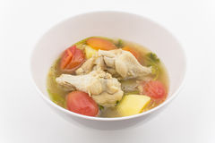 Chicken soup with vegetables. Isolated on white background Royalty Free Stock Photography