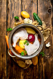 Chicken soup with vegetables in a large pot. royalty free stock photo
