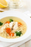 Chicken soup with vegetables and orzo Royalty Free Stock Images