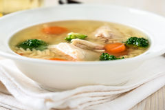Chicken soup with vegetables and orzo Royalty Free Stock Photography