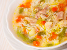 Chicken soup with vegetables and rice Stock Photography