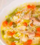 Chicken soup with vegetables and rice Royalty Free Stock Image