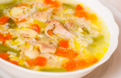 Chicken soup with vegetables and rice Stock Photos