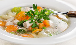 Chicken soup  with  vegetables. Stock Photography