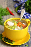 Chicken soup with vermicelli. Royalty Free Stock Images