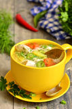 Chicken soup with vermicelli. Stock Photo