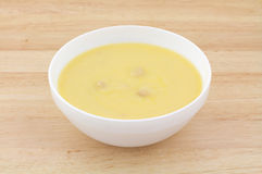 Chicken Soup In White Bowl On Wood Table Royalty Free Stock Images
