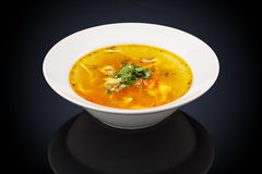 Chicken soup in a white plate Stock Images
