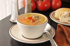 Chicken soup with wild rice Stock Photo