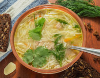 Free Chicken Soup With Macaroni. Stock Image - 71914431