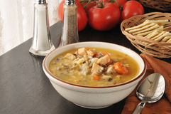 Chicken Soup With Wild Rice Royalty Free Stock Images