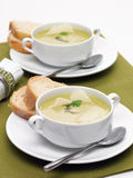Chicken soupe with parmesan and bread Stock Photo