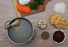 Chicken soupwith fresh vegetables, noodles and beans Royalty Free Stock Photography