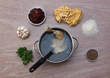 Chicken soupwith fresh vegetables, noodles and beans Royalty Free Stock Image