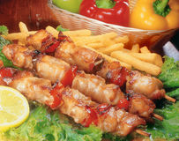 Chicken Souvlaki. Royalty Free Stock Images