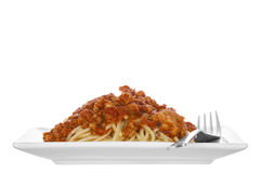 Chicken spaghetti bolognese isolated Stock Photos