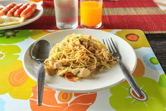 Chicken Spaghetti. Rice Spaghetti with Chicken meat Stock Photos
