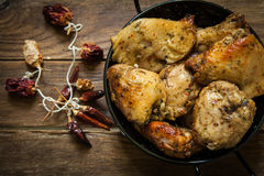 Chicken with spices royalty free stock images