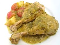 Chicken in Spicy Tomatillo Sauce Royalty Free Stock Photos