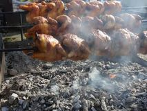 Chicken spin grill. Above the hot coals stock video footage