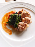 Chicken with spinach, healthy asian cuisine Stock Photos
