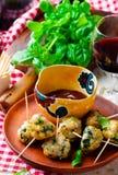 Chicken spinach meat bolls Stock Photos