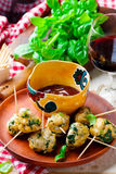 Chicken spinach meat bolls Royalty Free Stock Photos