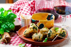 Chicken spinach meat bolls Royalty Free Stock Photography