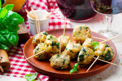 Chicken spinach meat bolls Royalty Free Stock Image