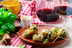 Chicken spinach meat bolls Stock Image