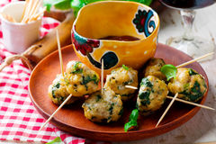 Chicken spinach meat bolls Royalty Free Stock Images