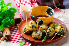 Chicken spinach meat bolls. Selective focus.rustic style Stock Images