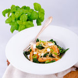 Chicken spinach pasta Royalty Free Stock Image