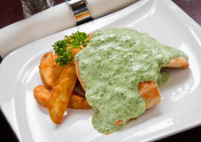 Chicken and Spinach Sauce Stock Photography