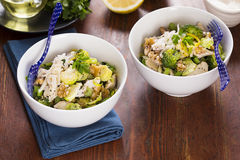 Chicken with sprouts walnuts parmesan Royalty Free Stock Images