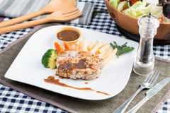 Chicken Steak. Barbecue Chicken Steak with Cesar Salad Stock Photos