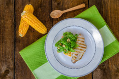 Chicken steak with garlic and lemon, salad Stock Images