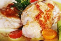 Chicken steak with garnish Royalty Free Stock Image