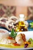 Chicken steak with garnish Stock Photo