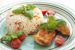 Chicken steak with garnish Stock Images