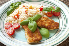 Chicken steak with garnish Royalty Free Stock Photography