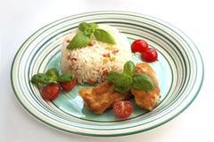 Chicken steak with garnish Royalty Free Stock Photo
